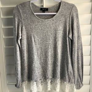 BCX Gray w/ Lace Trim Sweater Top